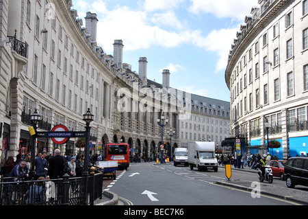 Regent Street from Piccadilly Circus, City of Westminster, London, England, United Kingdom - Stock Photo