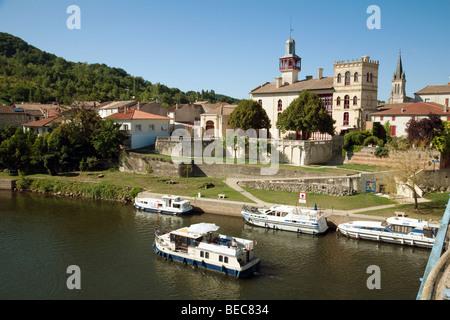 The River Lot at Castelmoron, Aquitaine, France - Stock Photo