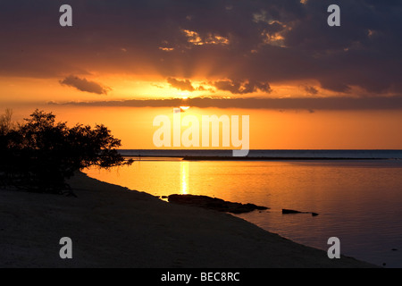 Scenic Landscape. Sunset at Gili Meno Island. Lombok, Indonesia. South East Asia - Stock Photo