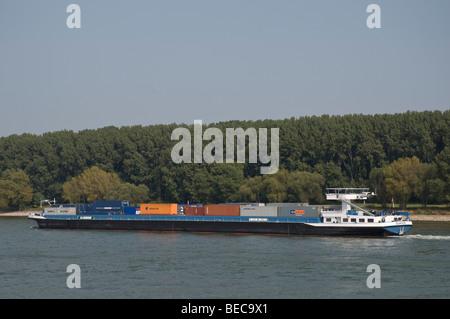 Barge, container ship Duancis on the Rhine River near Bonn, North Rhine-Westphalia, Germany, Europe - Stock Photo