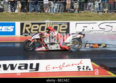 UEM Super Twin Bike driven by Per Bengtsson at the FIA European Drag Racing Championship finals at Santa Pod, England. - Stock Photo