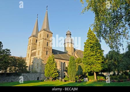 Marienmuenster Abbey Church, Order of Saint Benedict, Muensterbrock, Hoexter District, Nordrhein-Westfalen, Deutschland, - Stock Photo