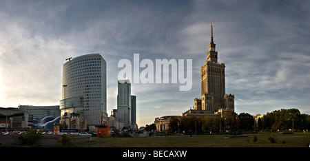 Skyscrapers and Culture Palace, Palac Kultury, in the center of Warsaw, Poland, Europe - Stock Photo