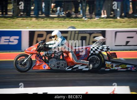 Dragster Bike at the FIA European Drag Racing Championship at Santa Pod, England. - Stock Photo