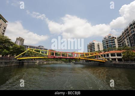 Alkaff Bridge over the Singapore River, Singapore - Stock Photo