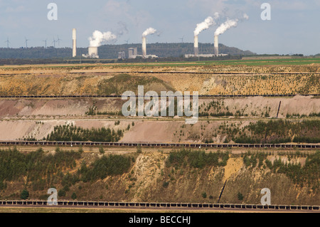 Conveyer belts at Garzweiler opencast mine taking lignite (brown coal) to the Frimmersdorf power station, Germany. - Stock Photo