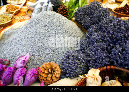 Dried lavender blossoms, lavender on a market in the Provence, France, Europe - Stock Photo