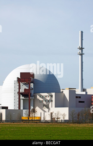 Atomic Power Plant, Nuclear Power Station in Brokdorf, Wilstermarsch, district Steinburg, Elbmarschen, Schleswig - Stock Photo