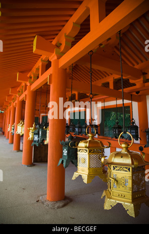 Japanese Lanterns at Kasuga Taisha Shrine in Nara - Stock Photo