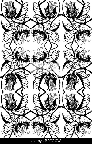 Repeated black on white drawing of exotic botanical blossoms, fanciful leaves and stems in a silhouetted design - Stock Photo