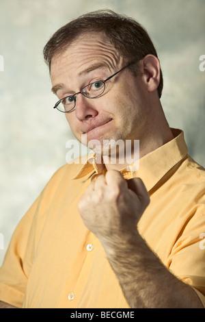 Man gesticulating, emotional, portrait, body language - Stock Photo