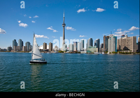 Toronto;Ontario;Canada, CN Tower; Lake Ontario and the Waterfront with Cityview - Stock Photo