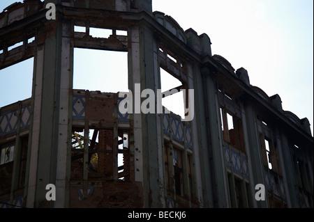 Building damaged in war in 1994 Sarajevo, Bosnia - Stock Photo