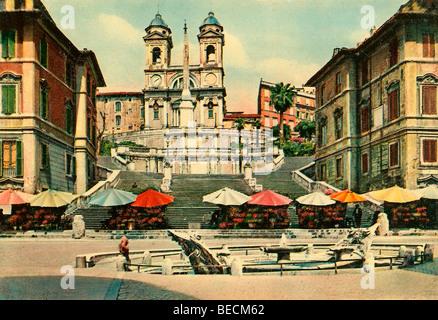 Historical photo around 1930, Church Trinita dei Monti, Spanish Steps, Rome, Latium, Italy, Europe - Stock Photo