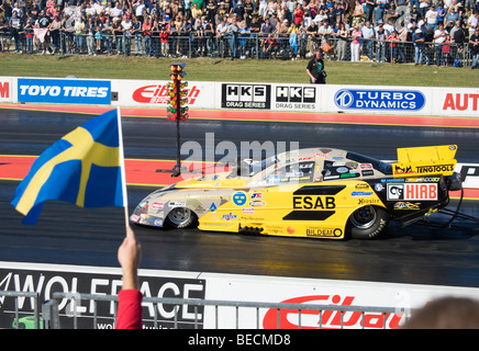 Top Methanol Funny car Dragster driven by Leif Andreasson at the FIA European Drag Racing Championship at Santa - Stock Photo