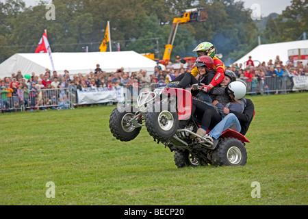 Kangaroo Kid alias Matt Coulter riding quad stunt bike Moreton Show September 2009 UK - Stock Photo