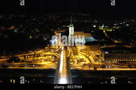 View from UFO restaurant on New Bridge, Nový Most, towards St. Martin's Cathedral, Bratislava, Slovakia, Eastern - Stock Photo