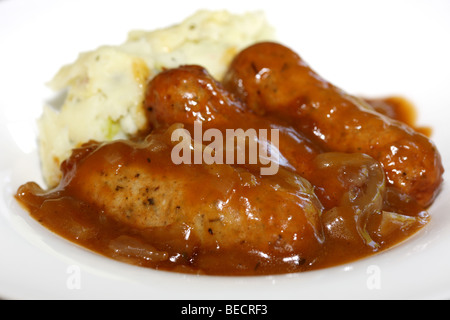 Lincolnshire Sausages With Cheddar And Bacon Mash Potatoes Bubble And Squeak And No People