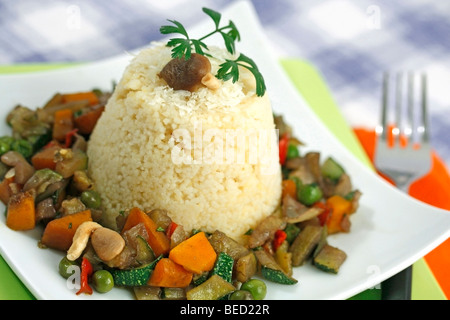 Couscous with vegetables Recipe available. - Stock Photo