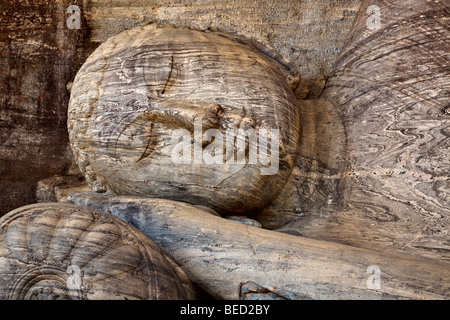 Close-up of Reclining Buddha, Gal Vihara, Polonnaruwa, Sri Lanka - Stock Photo