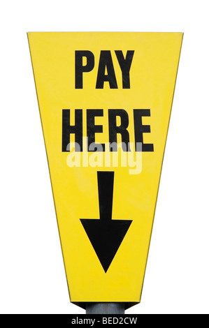 Pay Here Sign in a Car Park, Close Up, Cut Out. - Stock Photo