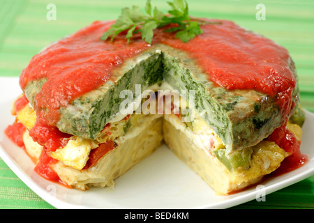 Omelette pie. Recipe available. - Stock Photo