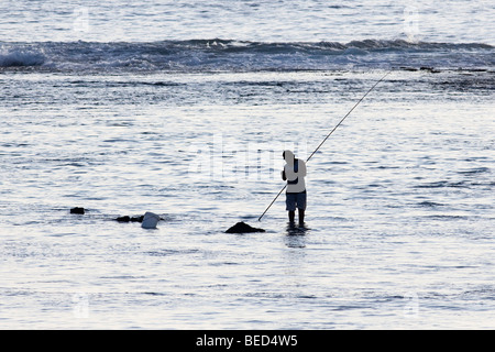 Local man fishing in shallow waters in the late afternoon in The Cook Islands - Stock Photo