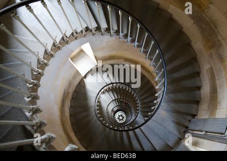 Spiral staircase, Phare de Ballines ile de Re, Charente- Maritime, France - Stock Photo