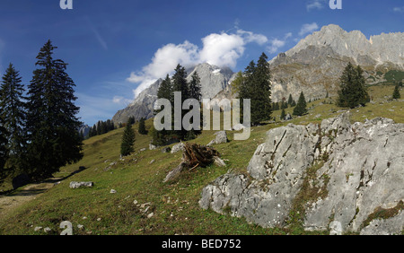 Hiking region in the Berchtesgaden Alps, Hochkoenig Mountain, Salzburg, Austria, Europe - Stock Photo
