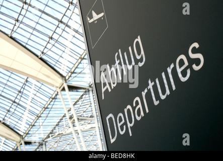 Sign, departures at Terminal 2 in Munich Airport, Franz-Josef-Strauss Airport, Munich, Bavaria, Germany, Europe - Stock Photo