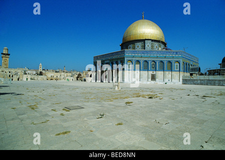 Dome of the Rock, Qubbet es-Sakhra, on the Temple Mount, Jerusalem, Israel, Near East, Orient - Stock Photo