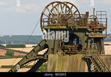 Pleasley colliery disused Winding wheels - Stock Photo