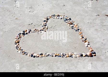 Mulit-colored shells placed in sand on beach in shape of a heart. - Stock Photo