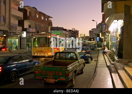 Main street of Hurghada after sunset, Egypt, Africa - Stock Photo
