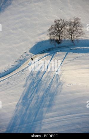 Aerial picture, snow-covered landscape, Blankenstein Auf Drehnhausen, Hattingen, Ruhr area, North Rhine-Westphalia, - Stock Photo