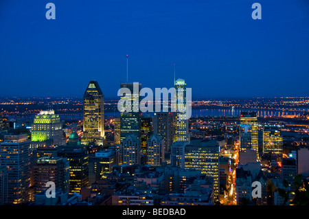 Skyline of Downtown Montreal at night - Stock Photo