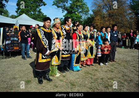 Paris, France - Group Portrait, Tibetans Dressed in Traditional Costumes at Tibetian Festival, - Stock Photo