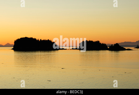Group of islands near Port Hardy before sunrise, Inside Passage, Vancouver Island, Canada, North America - Stock Photo