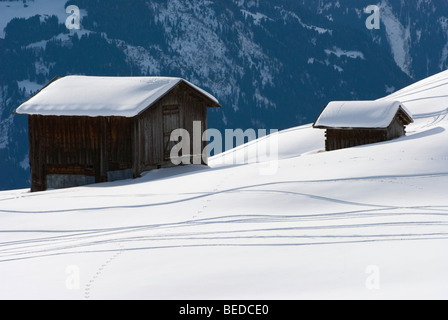Snow-covered mountain hut storing hay on a snow-covered slope with skiing tracks, Graubuenden, Switzerland, Europe - Stock Photo