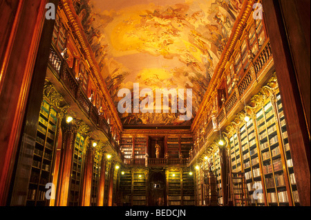 Philosophic hall of the library in the Strahov Monastery, Prague, Czechia, Europe - Stock Photo