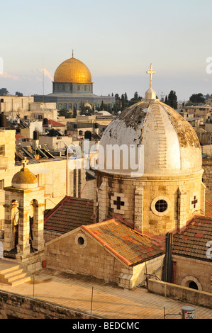 View over the historic town centre of Jerusalem with the Dome of the Rock, Israel, the Near East, Orient - Stock Photo