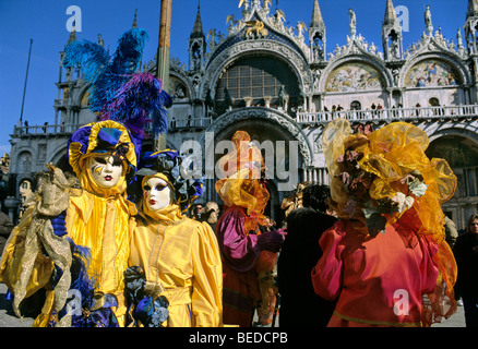 Masks, Piazza San Marco Square, carnival in Venice, Veneto, Italy, Europe - Stock Photo