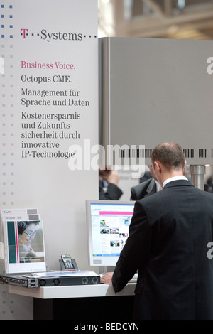 Trade fair stand of T-Systems at the computer and IT fair Systems in Munich, Bavaria, Germany, Europe - Stock Photo