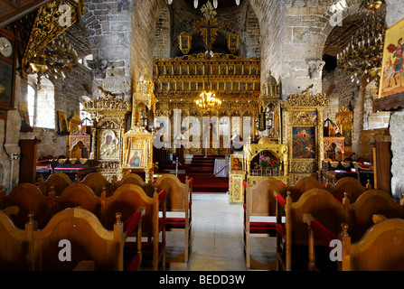 Interior of the Lazarus Church, altar, chairs, Larnaca, Cyprus, Asia - Stock Photo