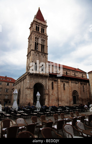 Cathedral of St. Lawrence XIII in John Paul II Square, Trogir, Croatia - Stock Photo