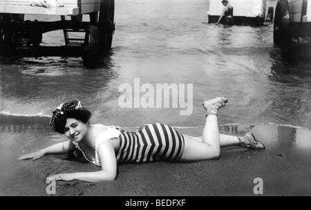 Historic photograph, woman in a bathing suit, around 1910 - Stock Photo