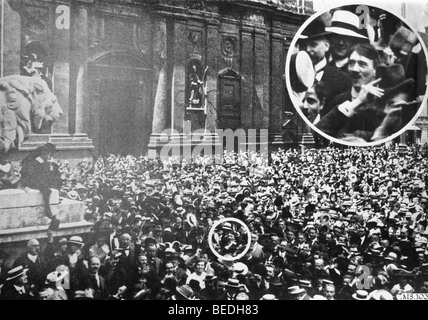 Aug 01, 1914; Munich, GERMANY; Nazi leader ADOLF HITLER in the middle of the crowd in Munich at the outbreak of - Stock Photo