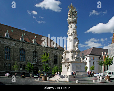 Holy Trinity Column, Baroque plague column with figures of saints, 14 m high, commemorating the plague epidemic - Stock Photo