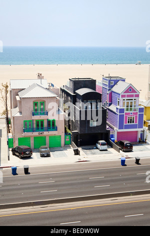 Looking down on unusual houses along Santa Monica Beach in Los Angeles, California, USA - Stock Photo