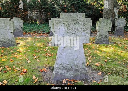 Unknown Russian soldier, soldier, tombstone, war graves, memorial site, Coesfeld, Muensterland region, North Rhine - Stock Photo